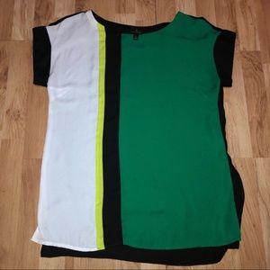 WORTHINGTON Green Colorblock Top Large